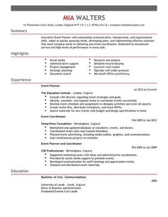 Event Planner CV Template | Marketing CV Examples | LiveCareer