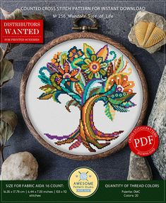 Cross Stitch Kits Mandala Tree of Life Embroidery Cross Stitch Pattern Modern Cross Stitch Patterns, Cross Patterns, Counted Cross Stitch Patterns, Cross Stitch Embroidery, Embroidery Patterns, Different Types Of Fabric, Dmc, Cross Stitch Kits, Cross Stitch Tree