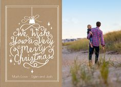 Wish you family and friend a very merry christmas by sending them a kraft paper christmas card with your favorite family photo on it! | CatPrint Design #676