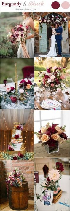 Burgundy and Blush Fall Wedding Color Ideas / http://www.deerpearlflowers.com/burgundy-and-blush-fall-wedding-ideas/ #weddingideas
