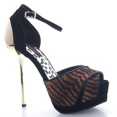 BNWOB Dollhouse Black Tiger and Gold Stiletto Heel Black tiger and gold stiletto heel with toe wrap peep toe platform. Brand new without box but WITH dustbag!! Never worn, never tried on! Received as a gift and never used. Pet free/smoke free house. Willing to negotiate! Dollhouse Shoes