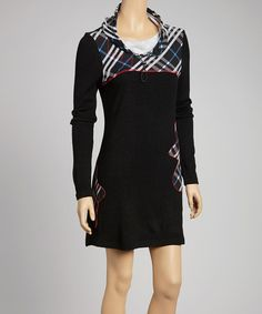 Take a look at this Black Plaid Floral Tunic Dress by Fantazia on #zulily today! $60 !!