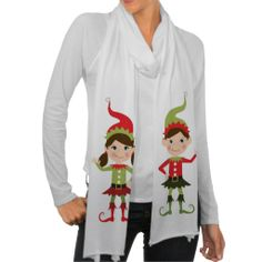 Christmas Cute Elves Party scarf - http://www.zazzle.com/christmas_cute_elves_party-256285495169413050?rf=238087280021604351