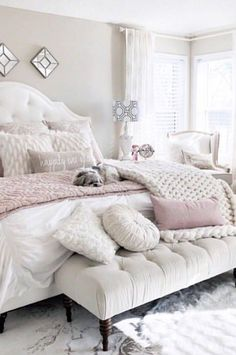 Ivory and blush bedroom - DIY Decor Ideas Cute Bedroom Ideas, Bedroom Inspo, Home Decor Bedroom, Blush Bedroom Decor, Bedroom Modern, Ivory Bedroom, Bedroom Wall, Bed Room, Romantic Master Bedroom Ideas