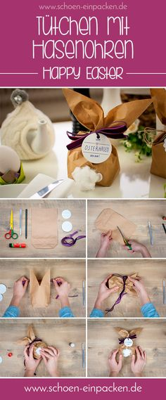 Creative packaging idea for Easter with our great kraft paper bags - Diy Gifts Ideas Diy Ostern, Diy Gifts For Kids, Cheap Gifts, Kraft Paper, Easter Crafts, Happy Easter, Diy And Crafts, Best Gifts, Gift Wrapping