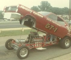 Chrisman and his GT-1 Mercury Cyclone funny car at Cecil County Dragway in 1967