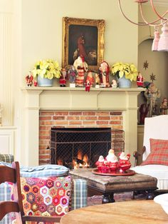 vintage figures on mantel with poinsettias @ http://www.bhg.com/christmas/indoor-decorating/mantel-decorating-ideas/#page=19