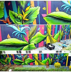 tropical mural • Murray Cowan, South Africa • poolside graffiti