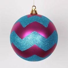 Vickerman Cerise Pink Matte w/ Turquoise Blue Glitter Chevron Commercial Size Christmas Ball Ornament 8 (200mm)