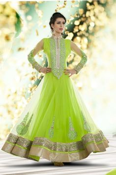 Green Net Anarkali Suit with Embroidered and Lace Work