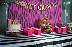 Donut Grow Up Party - Whisking Mama Donut Birthday Parties, Donut Party, Birthday Party Themes, 3rd Birthday, Birthday Ideas, Grown Up Parties, Bday Girl, 1st Birthdays, Up Girl