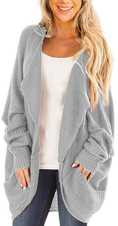 Qlassic Women Loose Open Front Knit Sweater Cardigan With Dolman Sleeves  and Big Pockets ba8d13b87