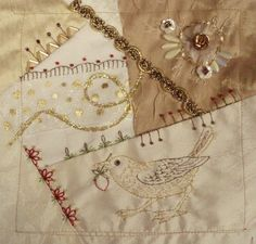 I ❤ crazy quilting . . . The same time Flora  was doing  her bird in Washington, clear across the country Barbara was working on a gold bird for Maire.