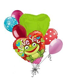 7 pc Frog Prince I Love You Happy Valentines Day Balloon Bouquet Mine Hug Kiss Sweetest - Brought to you by Avarsha.com