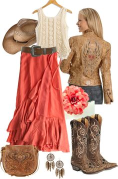 A fashion look from September 2012 featuring cotton tank tops, western jackets and long red skirt. Browse and shop related looks. Country Girls Outfits, Country Girl Style, Country Fashion, Cowgirl Outfits, Western Outfits, Western Wear, Country Wear, Cowgirl Fashion, Country Chic