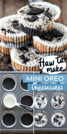 Mini oreo cheesecakes are easy to make in a muffin pan and only 7 ingredients! It starts with a 2 ingredient oreo crust then add the 5 ingredient oreo cheesecake filling. These mini oreo cheesecake cupcakes are a party favorite! y Postres Dessert Oreo, Oreo Dessert Recipes, Bon Dessert, Fun Baking Recipes, Sweet Recipes, Oreo Cookie Recipes, Cupcake Recipes, Mini Desserts, Easy Desserts