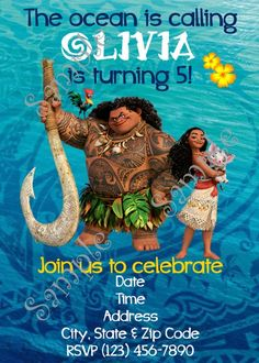 Moana Invitation, Di
