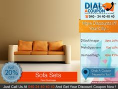 Get The Range Of A Sofa Sets With perfect blend of style and comfort in your home.And With Dial A Coupon Get The Best Discount. Call @040 24 40 40 40 And Get You Discount Coupon.  For More Discount Deals Please Visit: www.DialACoupon.com