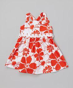 Look at this #zulilyfind! Orange & White Floral Dress - Infant & Toddler by A.B.S. by Allen Schwartz #zulilyfinds