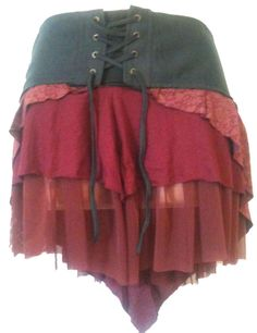 FAIR TRADE RED HIPPY GYPSY FESTIVAL PIXIE SKIRT LACE STEAMPUNK PUNK PIXIE M S11 #terrapin #WraparoundSkirts #Casual