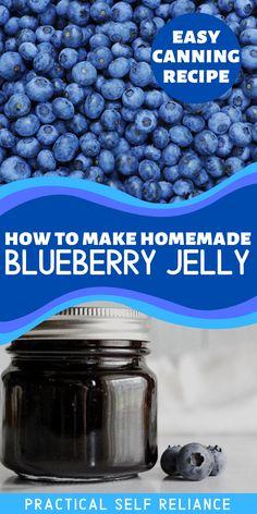 Jelly Recipes, Jam Recipes, Real Food Recipes, Blueberry Jelly, Blueberry Recipes, Pressure Canning Recipes, Easy Canning, Canning Peaches, Canning Vegetables