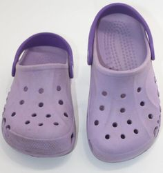 128ad67e287f3 Crocs Girls Youth Kids Purple Rubber Slip On Clogs Size 1-3 Shoes  slip