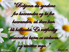 Healing: Bekjenn da syndene for hverandre, og be for. Dere, Holy Spirit, Healing, Plants, Bible Verses, Holy Ghost, Plant, Planets