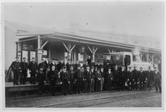 Oamaru Railway staff outside the station 1893 Back In Time, New Zealand, The Outsiders, The Past, Street View, Digital