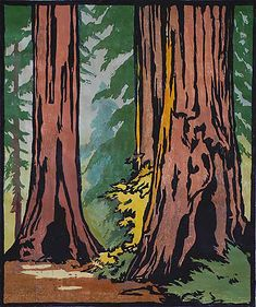 Forest Primeval - WILLIAM S. RICE WILLIAM S. RICE American, (1873-1963)  Woodcut, circa 1925-30, edition probably about 15. 12 x 10 in. A superb impression; the colors extremely fresh. Full margins. Very good condition. (Old hinges at top; soft ripple in the image.) An exceptionally large print by Rice.