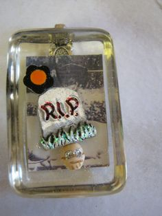 Halloween Graveyard Pendant by janissupplies on Etsy, $14.50