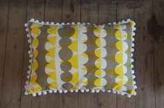 Yellow and Grey Pompom Cushion