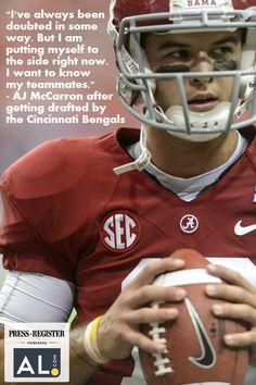 Alabama quarterback AJ McCarron was drafted in the fifth round by the Cincinnati Bengals.