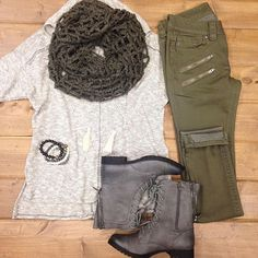 "A new look we know you {and your closet} will L❥VE!   Short Sleeve Hooded Sweater $38 S, M & L Miss Me Olive Zipper Detail Jegging $99.50 Not Rated ""Big valley"" Combat boots $59.99 Open knit Infinity Scarf $18 Lenny & Eva Agate Bracelets $22.50  Shop in stores or CALL to order! 360.217.7684 Snohomish & 360.716.2982 Tulalip"