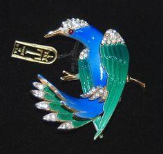 Trifari Blue & Green Enameled Bird Brooch- Pave Rhinestones- Red Cab - New w Tag