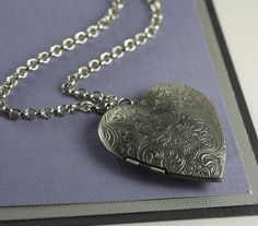 Antique heart Lockets | Long Antique Silver Heart Locket Necklace by TheresaRose on Etsy