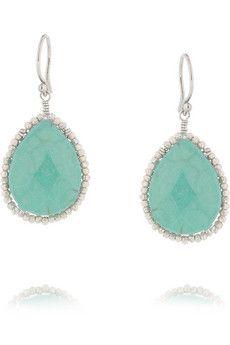 CHAN LUU Silver and turquoise drop earrings