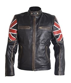 Classyak Men's Fashion UK Flag Cafe Racer Real Quality Co...