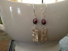 Beautiful Clay Metal Silver and Burgundy Pearl by DesignsforLJJ, $32.00