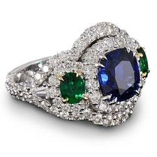 Cushion-Cut Sapphire and Emerald Ring in Platinum and 18kt Yellow Gold with White Diamonds 5.60ctw by DIVA.