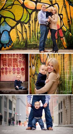 Love, LOVE graffiti walls as a backdrop for family portraits. www.michaelkormos...