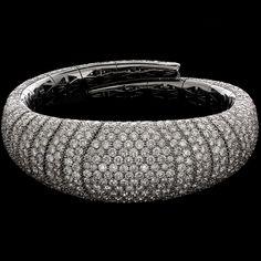 Mattia Cielo - Iguana - Bracelet  750/1000 white and grey gold - white diamond full pavè  ct. 20,00