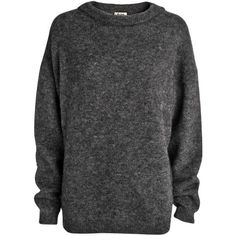 Acne Dramatic mohair knit sweater (3 915 ZAR) ❤ liked on Polyvore featuring tops, sweaters, long sleeves, shirts, dark greymelange, acne studios, mohair sweater, knit tops, long sleeve tops and long sleeve shirts