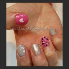 Leopard print, pink, hearts nails #gelish #nailart #fancyfingersroyston www.fancyfingersroyston.co.uk www.facebook.com/fancyfingersroyston