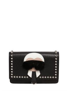 FENDI - KARLITO LEATHER SAFFIANO SHOULDER BAG