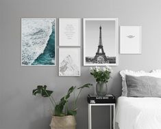 Find inspiration for creating a picture wall of posters and art prints. Endless inspiration for gallery walls and inspiring decor. Create a gallery wall with framed art from Desenio. Home Bedroom Design, Bed Design, Home Interior Design, Diy Bedroom Decor, Design Case, Home Decor, Bedroom Ideas, Wall Decor, Bedroom Styles