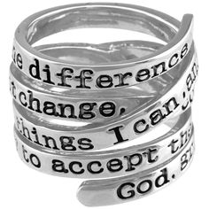 Serenity Prayer Wrap Ring. Every Purchase Funds Research and Therapy to Help Children with Autism.