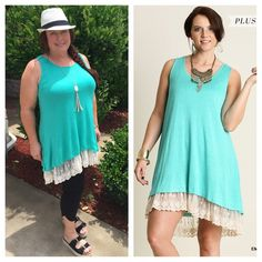 NEW ARRIVAL  PLUS Size lace trim tank dress Super cute plus size lace trim tank dress. Fully lined. Super comfy. Available in size XL(12-14), 1X(14-16), and 2X(16-18). COLOR: mint TANG1375200. 2 a T Boutique  Dresses