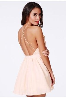 Desaree Nude Backless Puffball Mini Dress