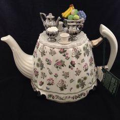 Portmeirion White Botanic Garden Tea Pot Fruit Bowl and Tea Service on Lid   eBay