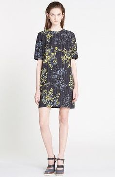Marni Floral Scroll Print Wool & Silk Shift Dress available at #Nordstrom